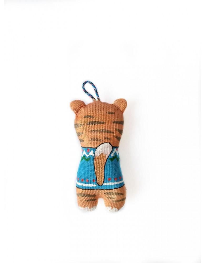 """Symbol of the year 2022 Keychain """"Tiger in a blue drill"""""""