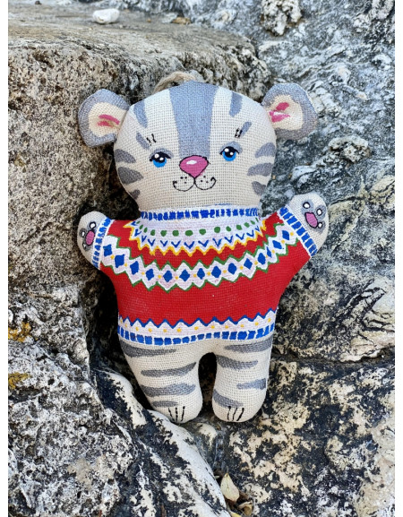 Symbol of the year 2022 A tiger in a Scandinavian sweater