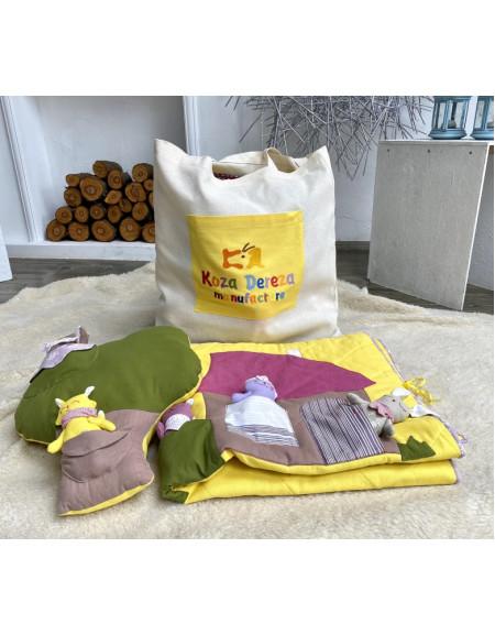 """Набір текстильний (Одіялко з аплікацією і кишеньками """"Будиночок"""",подушка з кишеньками """"Дерево"""" і торба з кольоровою вишитою кишенею)"""