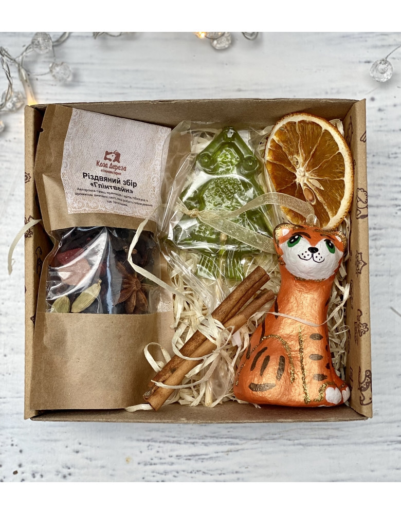 """Set with mulled wine, candy and a toy """"Tiger"""""""