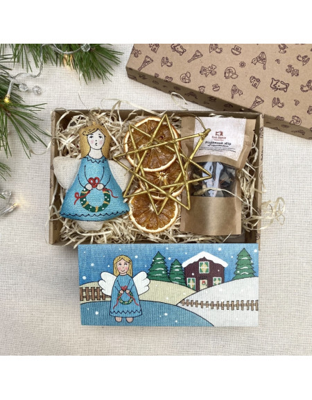 Gift set with angel and postcard