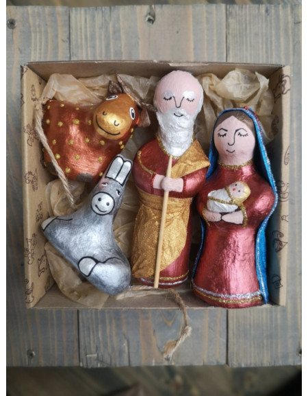 Shopka sculptural of 4 characters (Joseph, Mary, two sheep)