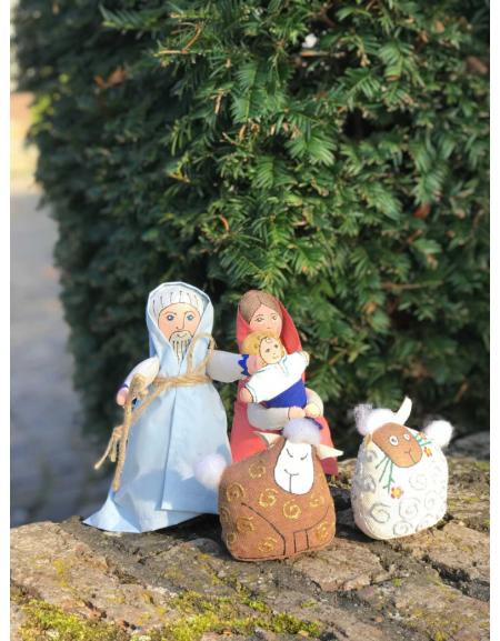 Shopka textile 4 characters (Joseph, Mary, 2 sheep)