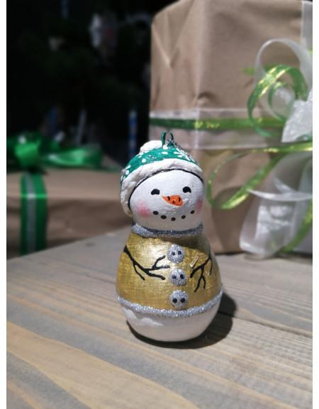 Snowman in a green hat