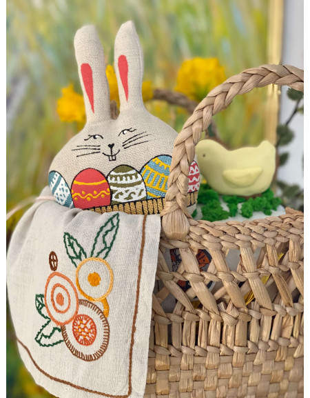 Hare with eggs basket