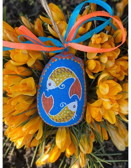 Small Blue Easter Egg with Fishes