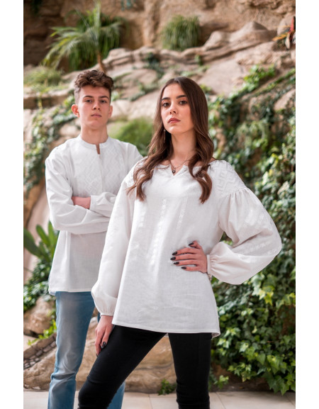 Embroidered Shirt «Wedding» (white linen, white embroidery)