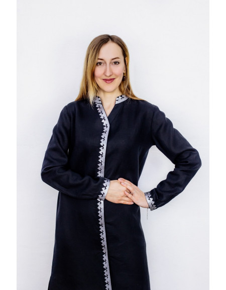 Black linen dress with a silver pattern