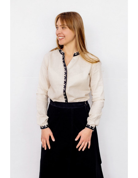 Women's Long Sleeve Office Shirt With Black Embroidery