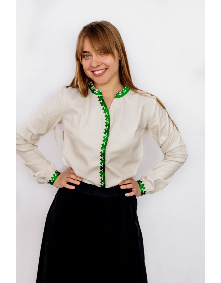 Women's office long sleeve shirt with green embroidery