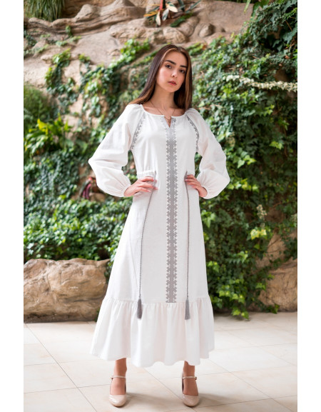 White Linen Dress with Ruffle & Silver Embroidery