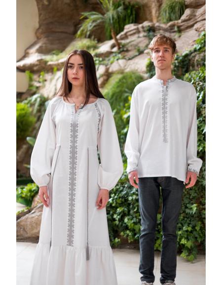 Twin shirts Barvinok (white linen)