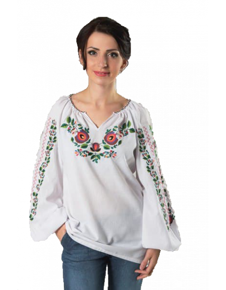 Embroidered Shirt «Borshchivska» (white linen)