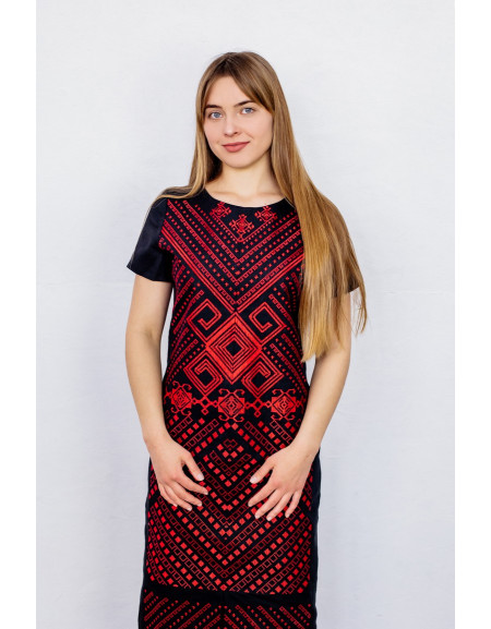 Embroidered dress Trypils'ka (black)