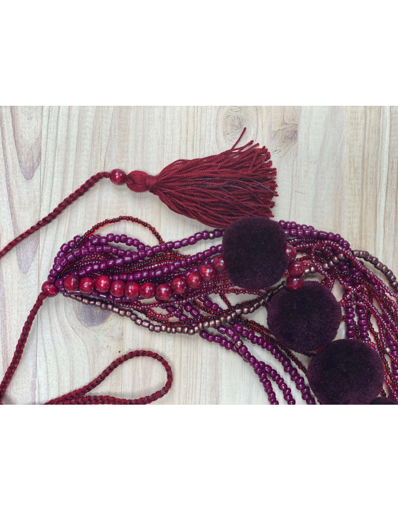 Claret Beaded Necklace with Tassels