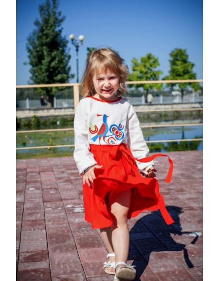Girls' dress «With a Bird» (red linen)