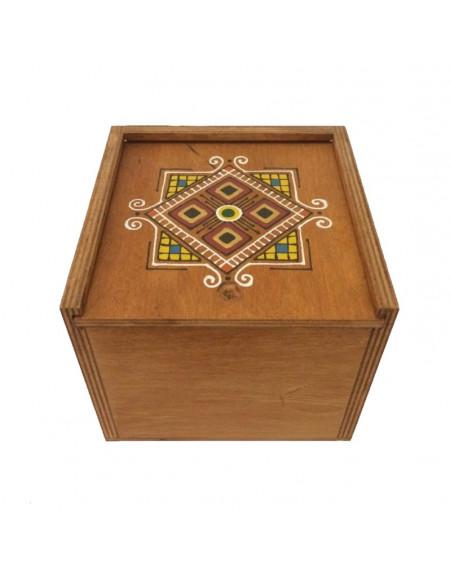 Коробка з фанери 14*14 темна графічна