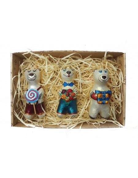 Set of bears (bears with candy, flowers and a gift)