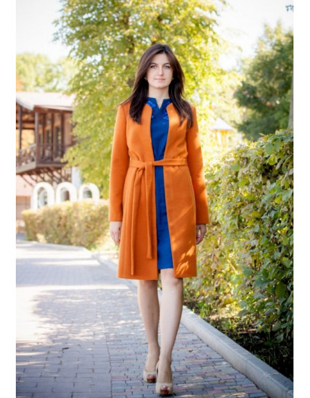 Orange Coat With A Belt