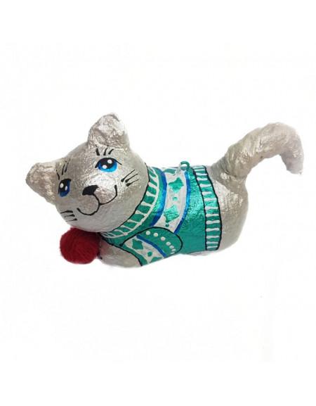 Котик сірий з клубочком
