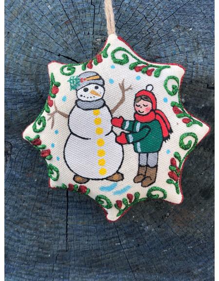 Vanilla Christmas Star «Boy Sculpts a Snowman»