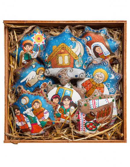 Set #24. Large wooden box, eight stars «From Roman to Jordan», tea, hay