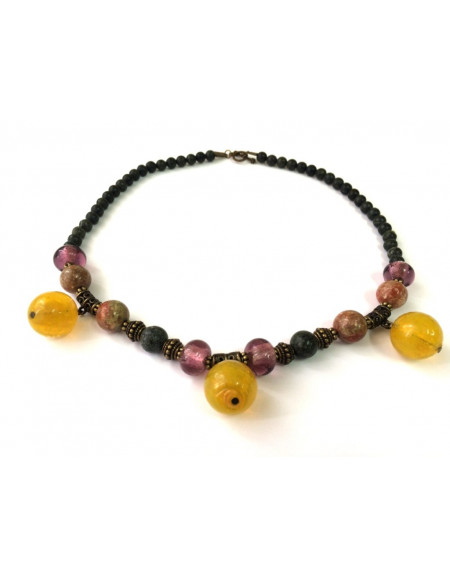 Unakite necklace with Noble Serpentine and Venetian glass beads