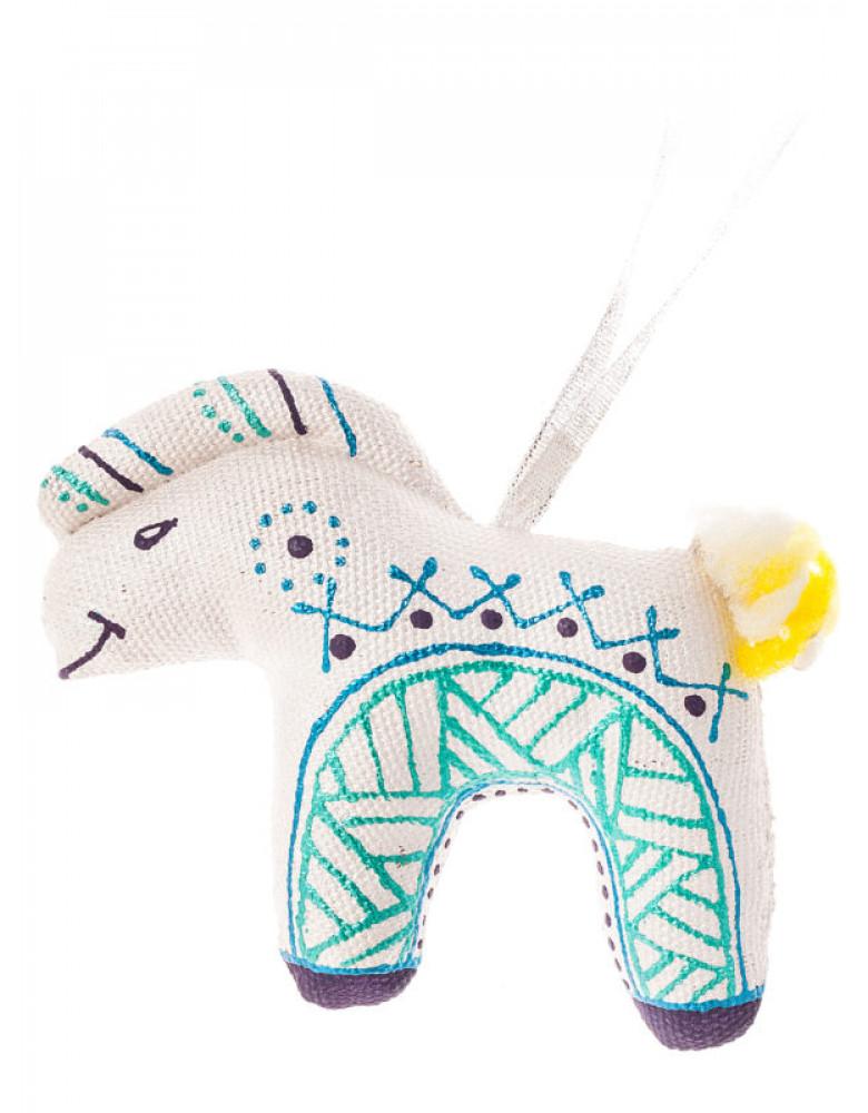 Игрушка на елку Конь серебряно-изумрудный