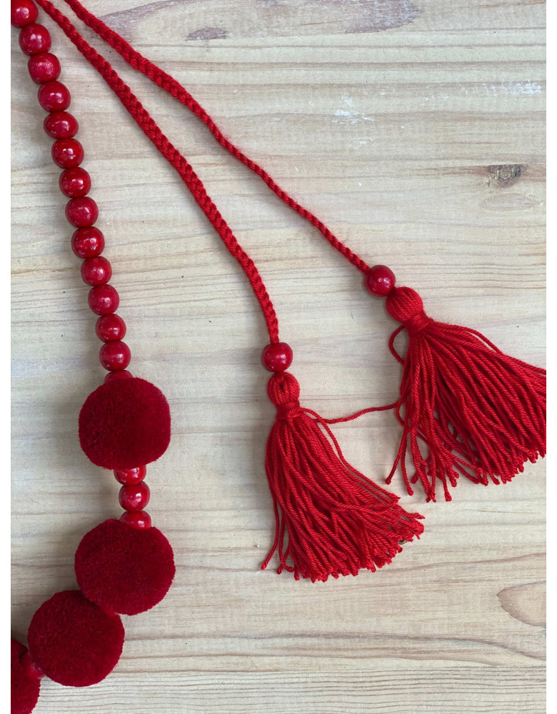 One Row Red Necklace with Tassels