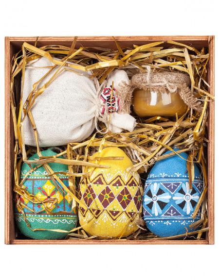 Пасхальный Набор №45. Деревянная коробка, писанки большие, чай, мед, сено