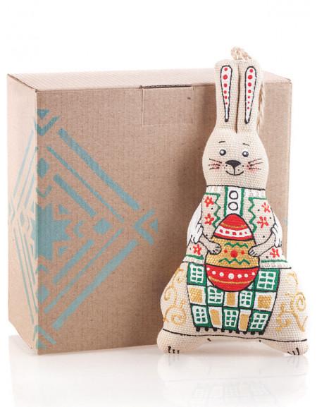 Пасхальный Набор №30. Картонная коробка, зайчик с писанкой, сено