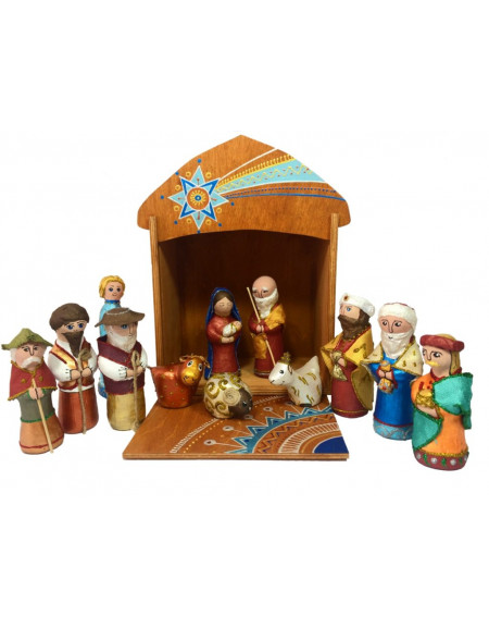 Sculpture Nativity Play in a wooden box