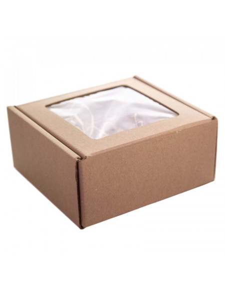Cardboard box with a window