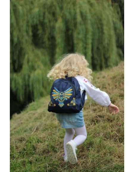 Jeans embroidered backpack «Owl-Batman»