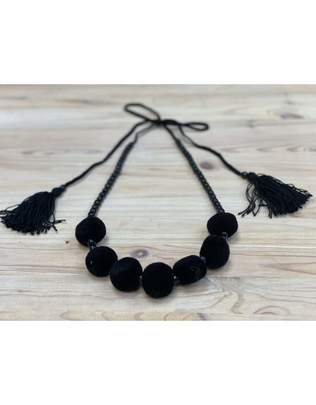 One Row Black Necklace with Tassels