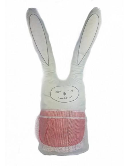 Заяц белый длинный текстильный