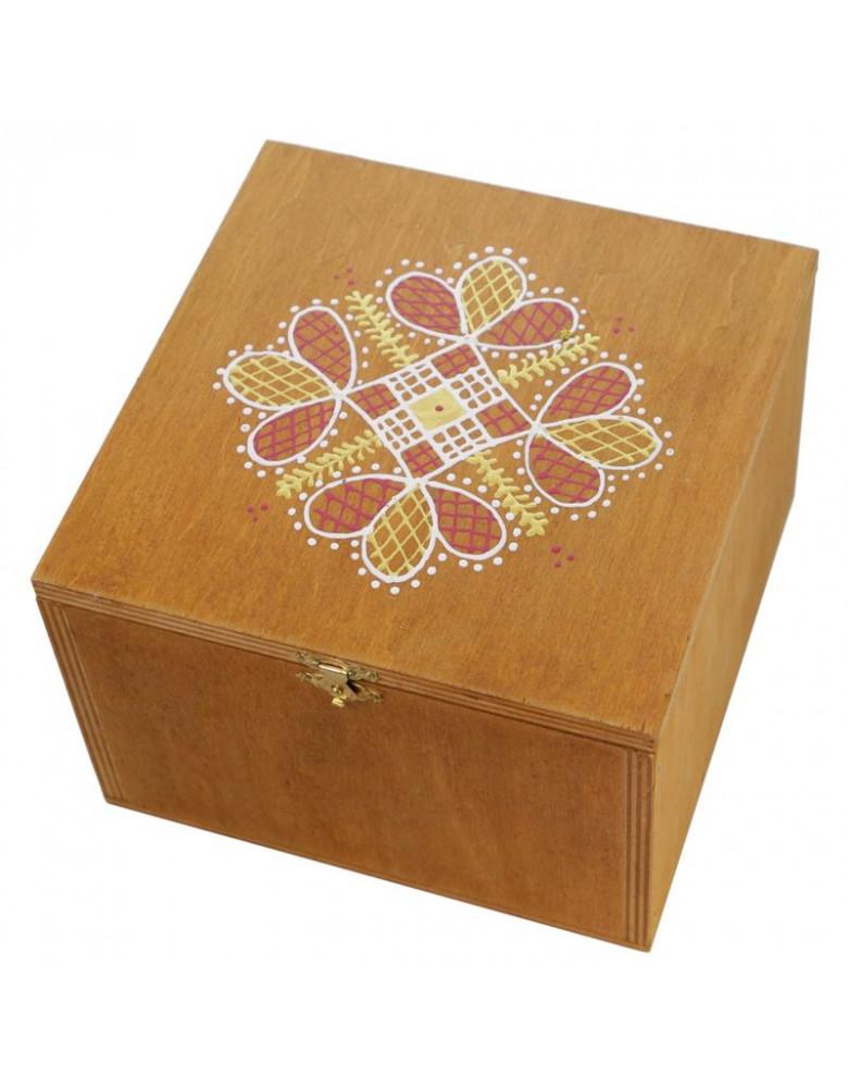 Набір №6а. Дерев'яна коробка, зірка різдв'яна, чай, сіно