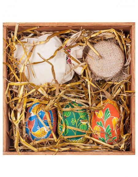 Пасхальный Набор №46. Деревянная коробка, писанки малые, чай, мед, сено