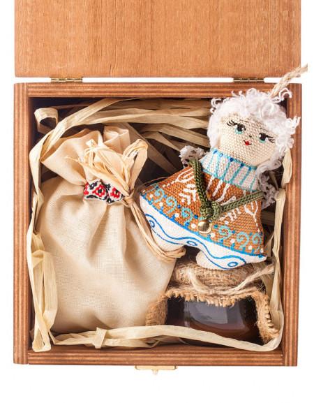 Набір №14. Дерев'яна коробка, янгол, мед, чай, сіно
