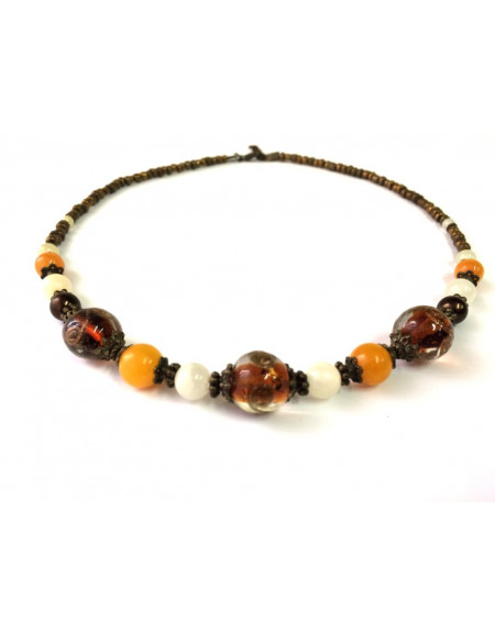 Brown glass necklace