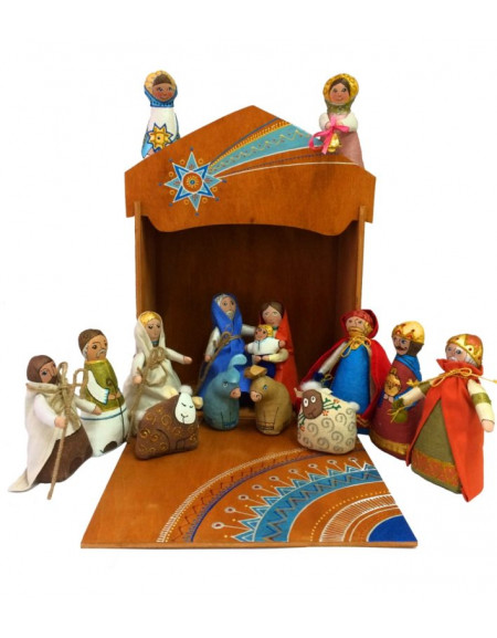 Textile Nativity Play in a wooden box