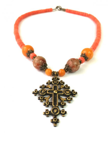 Terracotta coral necklace