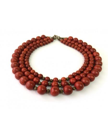 Three-row sponge coral necklace