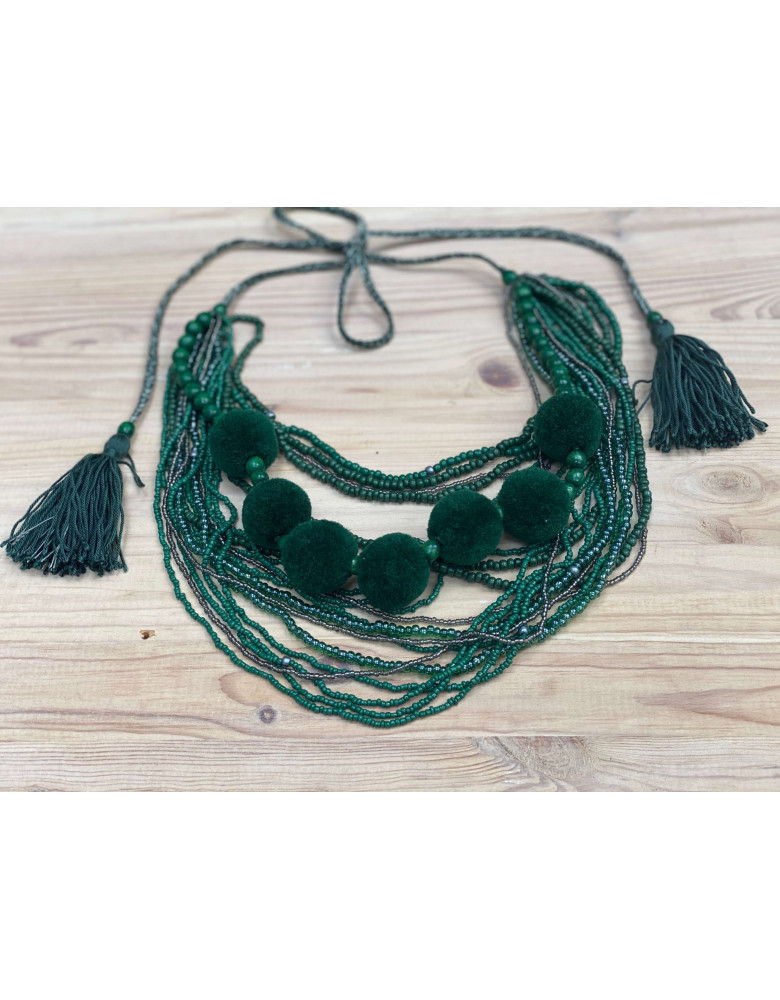 Green Beaded Necklace with Tassels