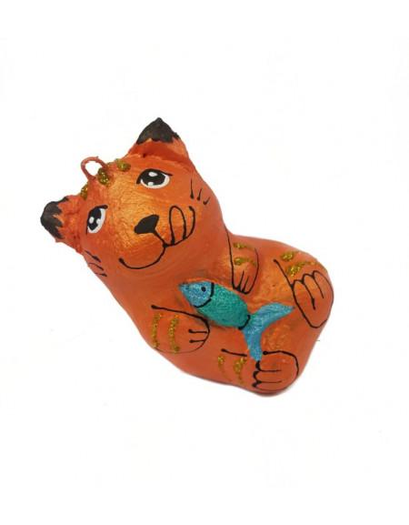 Котик помаранчевий з рибою