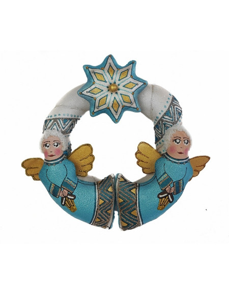 Silver-blue christmas wreath with angels