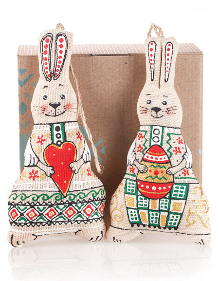 Set #33. Hare with a heart & hare with an Easter egg, cardboard box
