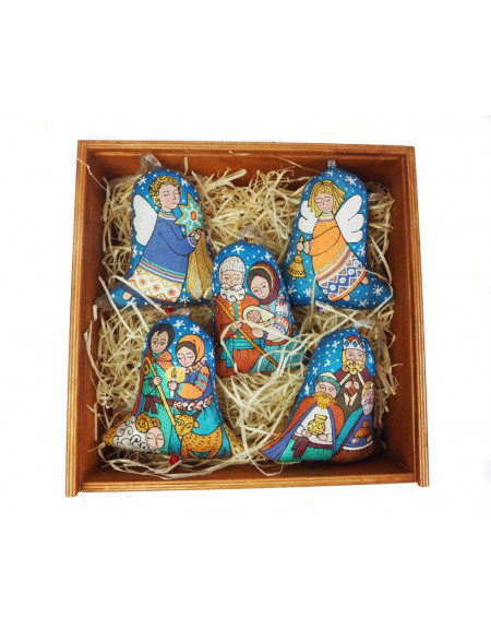 A set of 5 bells «Christmas in the Carpathians» in a wooden package