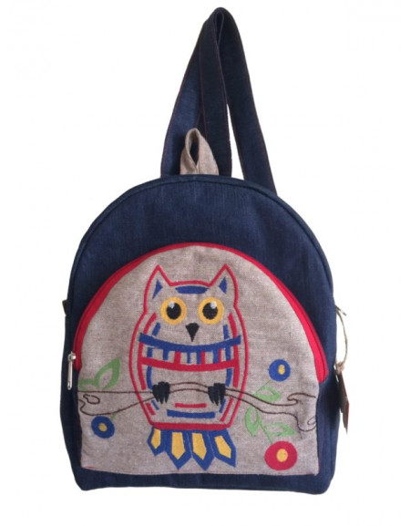 Jeans backpack «With Embroidered Owl»