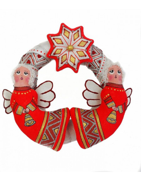 Silver-red christmas wreath with angels